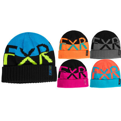 FXR Active Beanie Authentic Emblem Classic Skull Fit Fold Up Rib Snowmobile