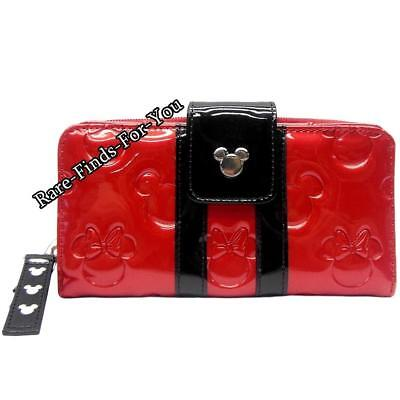 Disney Parks Minnie Loves Mickey Mouse Embossed Icon Loungefly Clutch Wallet NEW