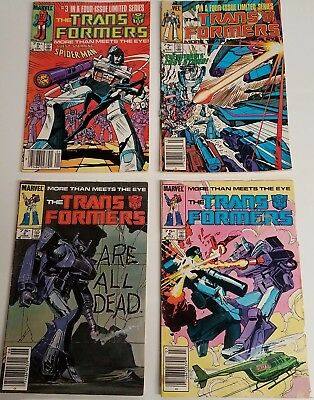 Lot Of (4) Marvel Comics Transformers Comic Books Book *no Reserve 1985