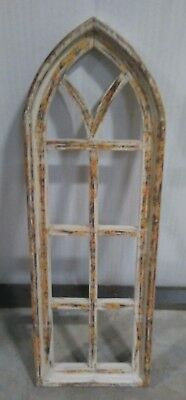 """12""""x37"""" Natural Wood Gothic Wooden Arch Window"""