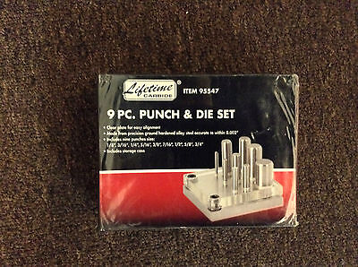 Lifetime Carbide Punch and Die Set 9 Pc #95547 - UPC: 792363955478