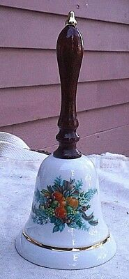 Vintage Avon Christmas Bell,1985,porcelain,wood handle,fruit & leaves,gold leaf