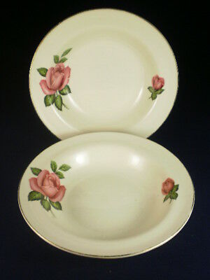 Staffordshire Potteries Pink Rose Sweet Bowls X 2