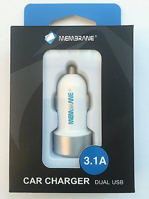 3.1A Dual USB Car Charger White 2 Port Universal Charging For Samsung iPhone HTC
