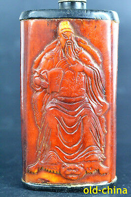 big Collectible China Horn Carving Guanyu Exquisite Snuff Bottle wonder statue