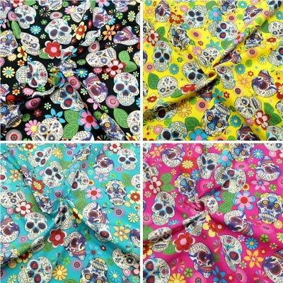 Hippy Floral Style Sugar Candy Skulls 100/% Cotton Poplin Printed Fabric.