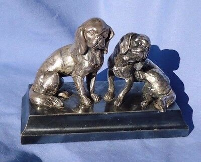 antique silver plt CAVALIER KING CHARLES SPANIEL dogs