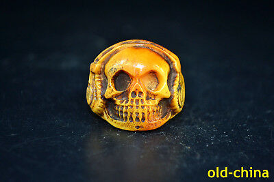 Collectible Chinese Tibet Buddhism Totem Skull Noble Bone Carving Ring