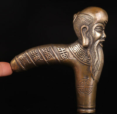 Bronze Old Man Cane Walkng Stick Head Handle Old Accessories Collection Value