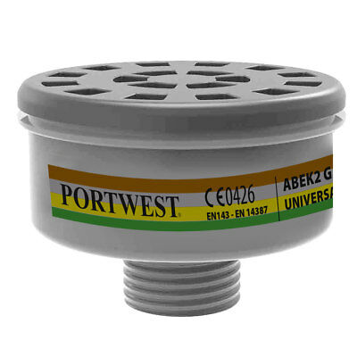 Portwest - Pack of 4 Class ABEK2 Gas Filters Universal Thread Black Regular