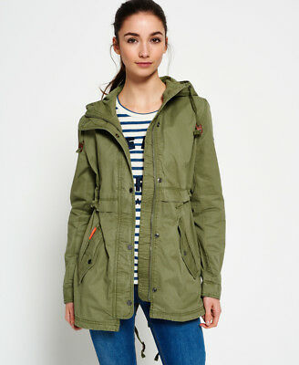 New Womens Superdry Classic Rookie Fishtail Parka Jacket Duty Green