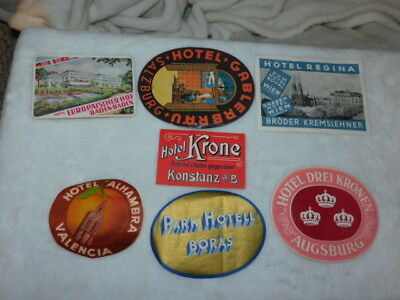7 Original Very Good Vintage Various International Hotel Luggage Labels
