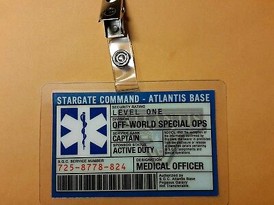 Stargate Command Atlantis ID Badge-Captain Medical Officer prop costume cosplay