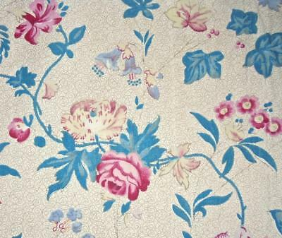 BEAUTIFUL VINTAGE FRENCH 1930s FINE COTTON CHINTZ, PICOTAGE REF PROJECTS