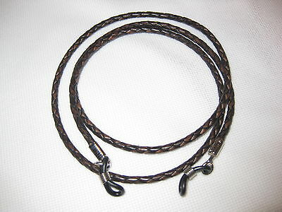 """32"""" EXTRA LONG Braided BURNISHED BROWN 3mm Leather Eyeglass Cord Adj. End"""