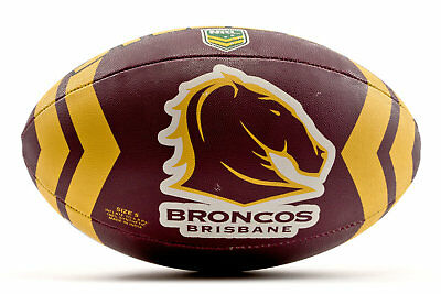 Steeden Mens Brisbane Broncos NRL Rugby League Ball Red Sports Training