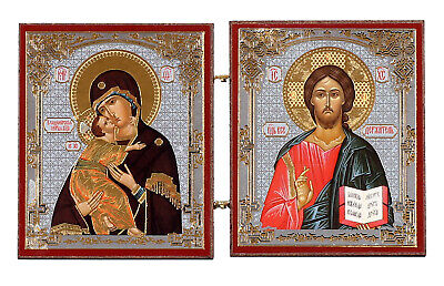 Gold Christ the Teacher and Virgin of Vladimir Russian Orthodox Icon Diptych