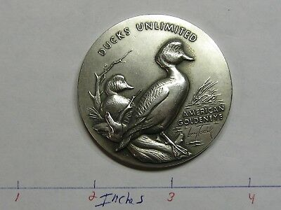 2.7 Oz American Goldeneye Duck Unlimited Medallic High Relief 999 Silver Coin
