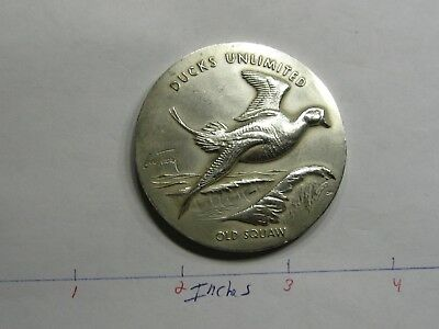 2.7 Oz Old Squaw Duck Unlimited Medallic Art High Relief Rare 999 Silver Coin