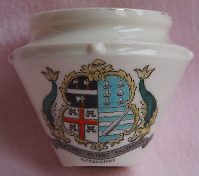 """W H Goss Ilfracombe Crested Pottery Model Of Celtic Urn Dug Up At Alnwick 2.75"""""""