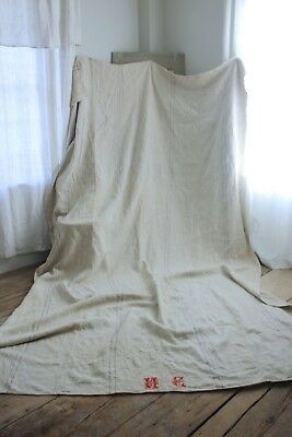 Antique bed slip cover upholstery fabric cart GRAY hemp cart cover harvest cloth