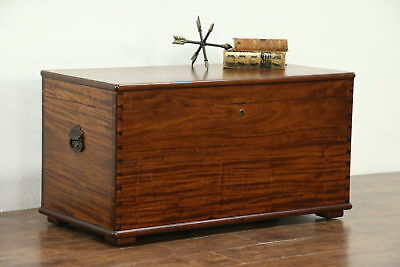 Mahogany Antique Cedar Lined Blanket Chest, Trunk or Coffee Table