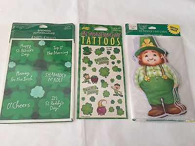 Vintage St. Patrick's Day lot of Mello Smello Tattoos, stickers and cards
