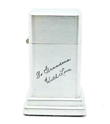 Vintage 1960's Zippo 4th Model Barcroft Table Lighter To Grandma -Near Mint
