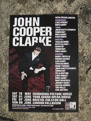 John Cooper Clarke - Small Flyer - June, 2013 Gigs