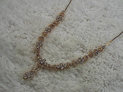 Goldtone Filigree Rhinestone Drop Pendant Necklace (C17)
