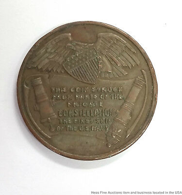 Unique Antique Coin Struck From Parts of US Frigate Constellation Navy 1797