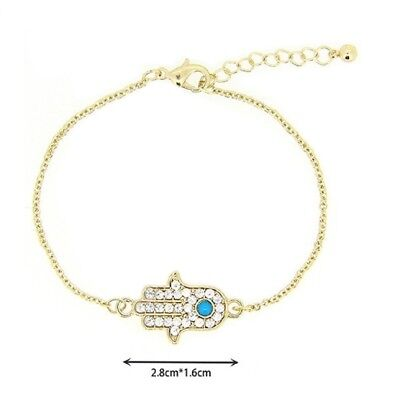 Hamsa Hand of Fatima with REAL Turquoise Evil Eye Punk Bracelets Gold Tone