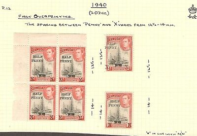 Bermuda GVI 1940 1/2d on 1d x (20) Mint Hinged (14) MNH (6) some with varieties