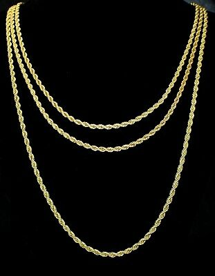 "3pc Rope Chain Set 3mm 18"" 20"" 24"" Necklaces 14k Gold Plated HipHop Mens Womens"