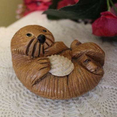 Otter Figurine Statue 3.25 inch Carved Clay Replica Shell on Tummy Stoneware