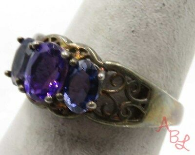 Sterling Silver Vintage 925 3-Stone Cocktail Amethyst Ring Sz 7 (3.5g) - 710507