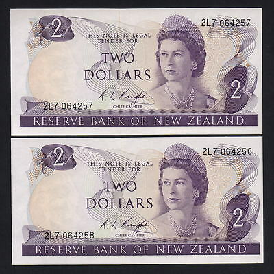 New Zealand  P-164c. (1975-77) $2..  Knight.. Prefix 2L7  UNC - CONSEC Pair