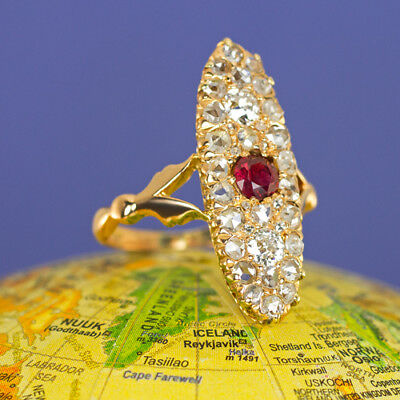 VICTORIAN 1900s ROSE CUT DIAMOND RUBY COCKTAIL RING ANTIQUE ROSE GOLD VINTAGE OM