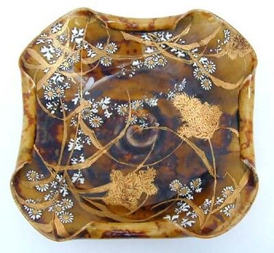Old Signed Asian Porcelain Amber Brown Bowl Gilt Grasses Daisies