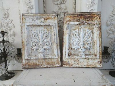 AWESOME PAIR OLD Chippy White ARCHITECTURAL Cast Iron DECOR PIECES PANELS Ornate