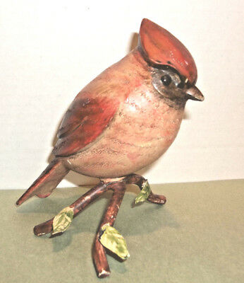 Sculptured Cardinal Perched on Wire Stand
