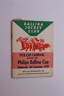 Ballina Jockey Club Official Programme 1978 Cup Carnival Horse Racing