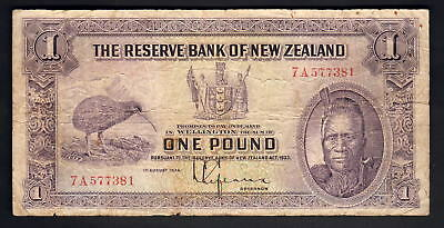 NEW ZEALAND P-155. (1934) 1 Pound - Lefeaux.. Prefix 7A..  VG