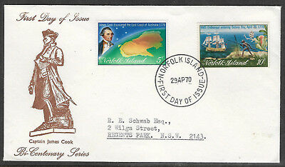 NORFOLK IS 1970 CAPTAIN COOK Bi-Cent Australia Set 2v FDC