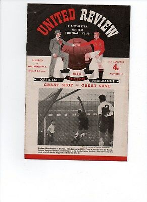 1952/1953 NO.14 MANCHESTER UNITED V WALTHAMSTOW AVENUE FAC 4th RD GOOD CONDITION