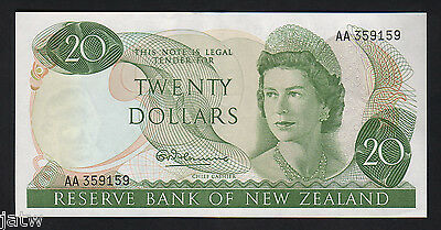 NEW ZEALAND P-167a.  (1967) Twenty Dollars - 1st Prefix AA.. Fleming.. aU-UNC