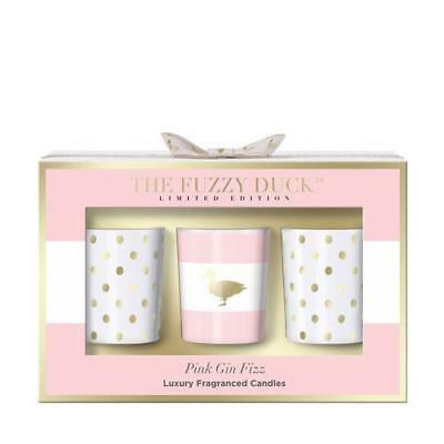 Baylis & Harding Fuzzy Duck Pink Gin Fizz Candle Trio Gift Pack FREE P&P