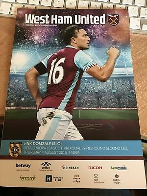 west ham united football program No 1 Season 2016/17