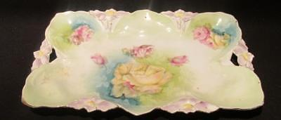 """Hand Painted Vintage Tray interesting Design Orchid Handles Detail 11.5 X 7.5"""""""