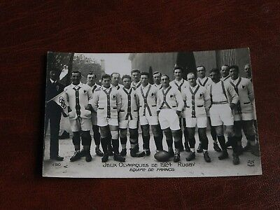 Original Paris Olympic Games 1924 Rugby Postcard - French Team.